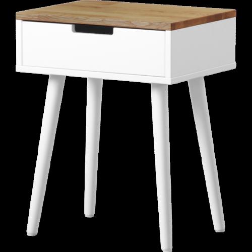 Carin Sängbord 1-L Vitlack/ekfanér
