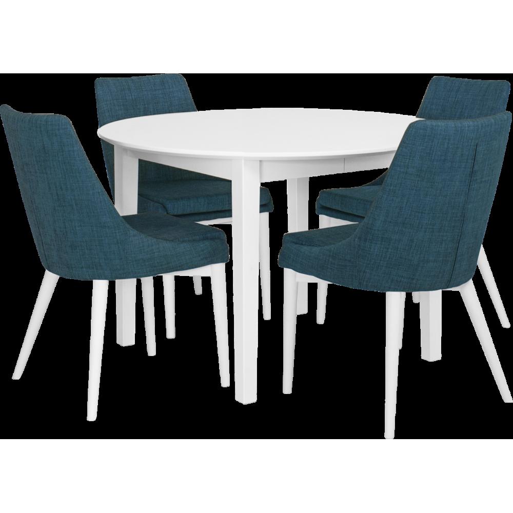 Eka Matbord Ø115 Vitlack/ 4x Abby stol Blå-Vitlack