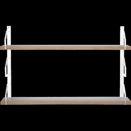 Square Vägghylla 2 Vitlack/Laminat grå