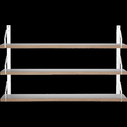 Square Vägghylla 3 Vitlack/Laminat grå