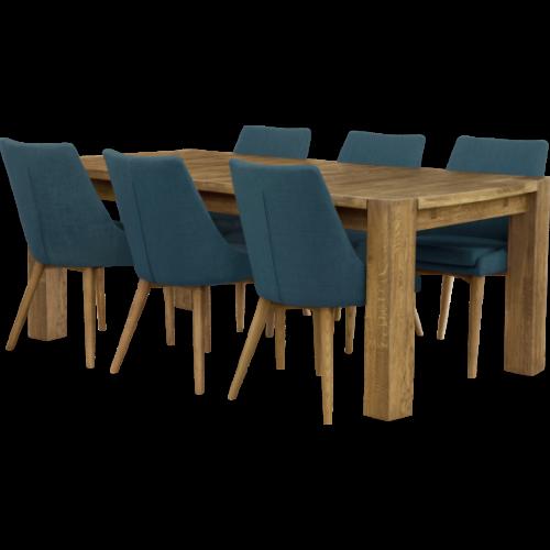 Balder Matbord 200 Oljad Ek med 6x Abby stol Blå/Ekbetsad