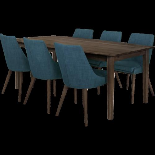 Eka Matbord 200 Rökt med 6x Abby stol Blå/Rökt