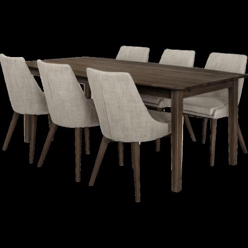 Eka Matbord 200 Rökt med 6x Abby stol Ljusgrå/Rökt