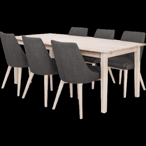 Eka Matbord 200 Vitoljad med 6x Abby stol Grå/Vitbetsad
