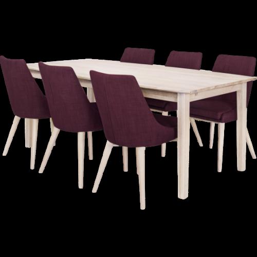 Eka Matbord 200 Vitoljad med 6x Abby stol Lila/Vitbetsad