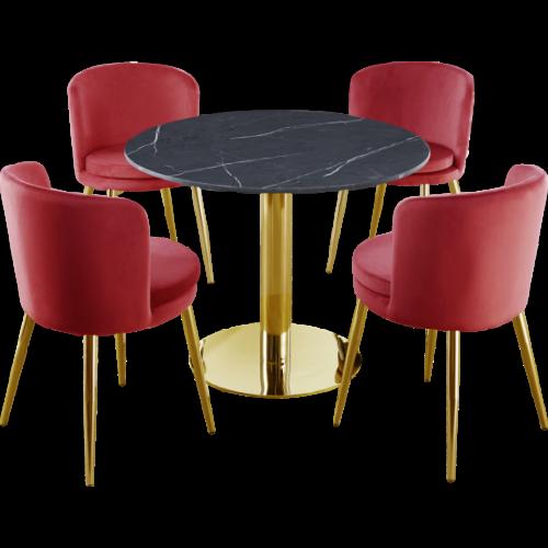 Passion Matbord Ø110 Grå/Guld med 4x Amore stol...